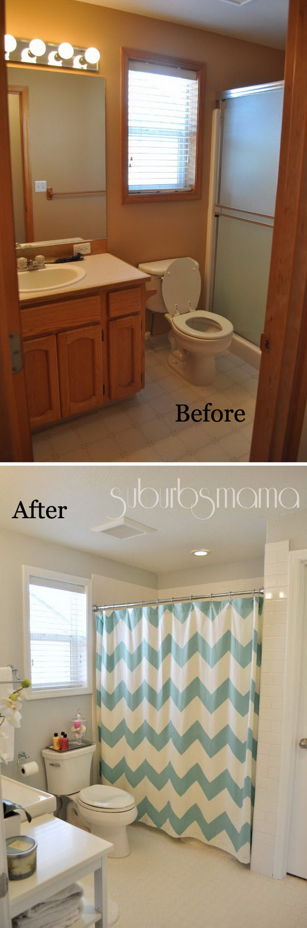 From Brown To White Color Small Bathroom Remodel Before After