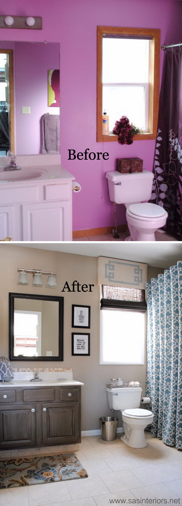 From Horrid Purple To Heavenly Gray and Beige Small Bathroom Makeover Before After