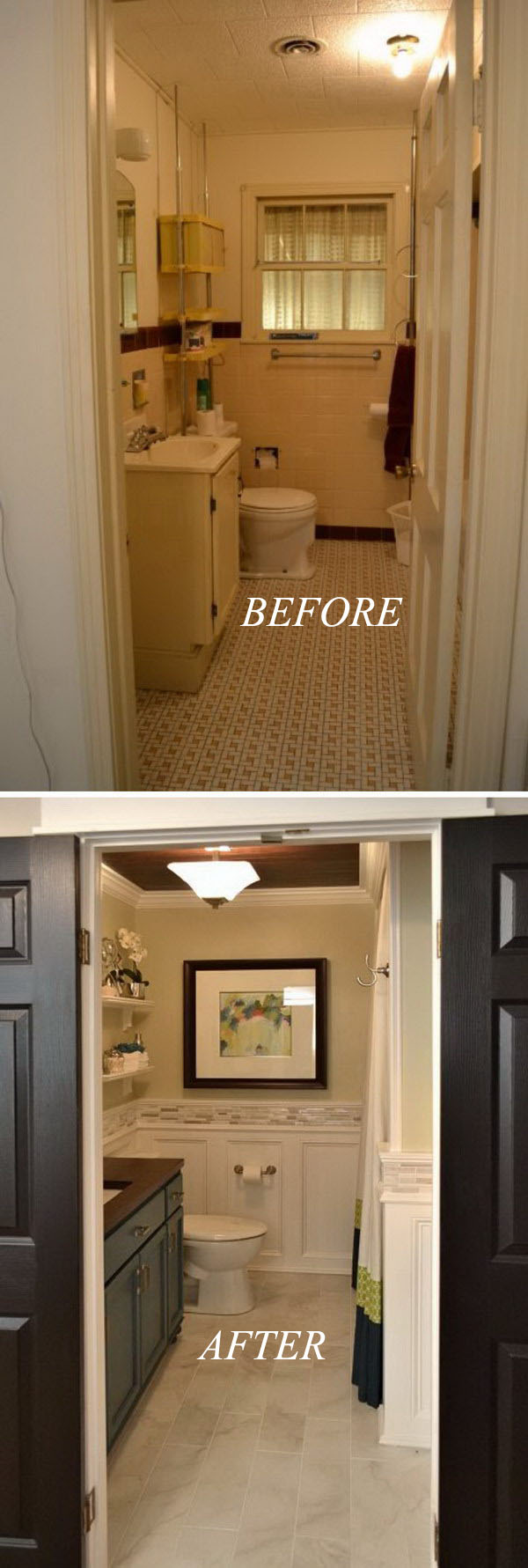 33 inspirational small bathroom remodel before and after for Bath remodel for small bathrooms