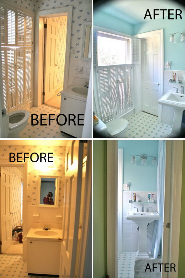 33 inspirational small bathroom remodel before and after diy design decor. Black Bedroom Furniture Sets. Home Design Ideas