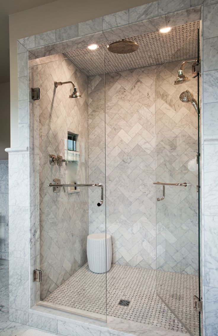 Love this marble herringbone shower
