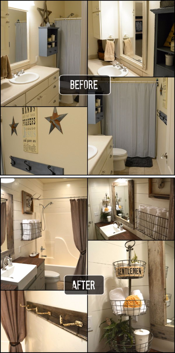 Rustic Small Bathroom Makeover Before After. 33 Inspirational Small Bathroom Remodel Before and After   DIY
