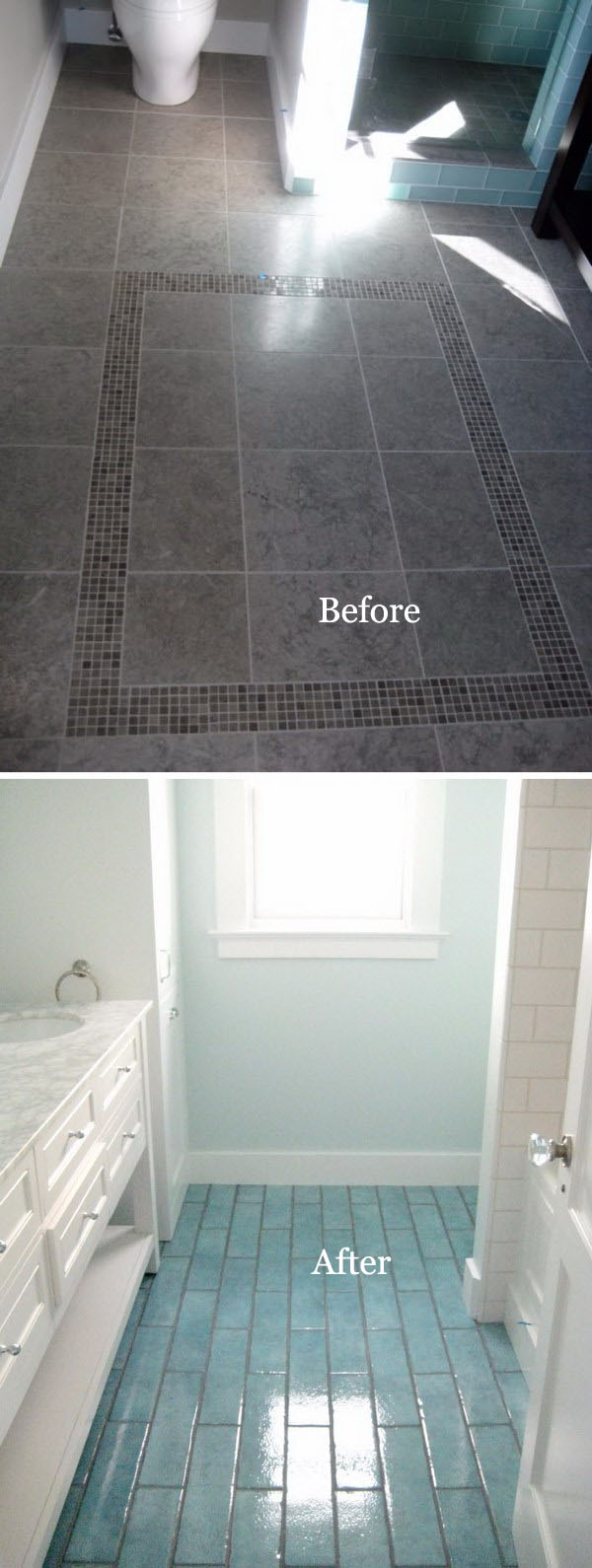Small Bathroom Flooring Remodel Using Aqua Blue Tiles
