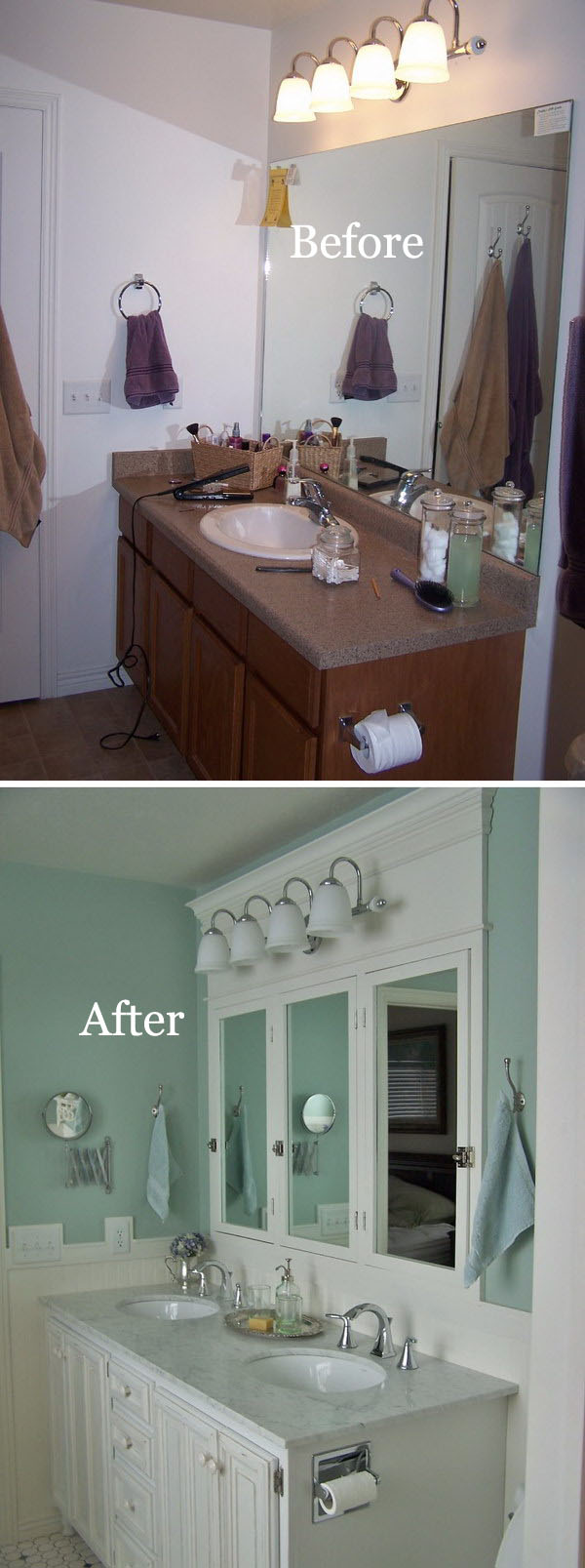 Small Bathroom Remodel With Blue Painted Walls Before After