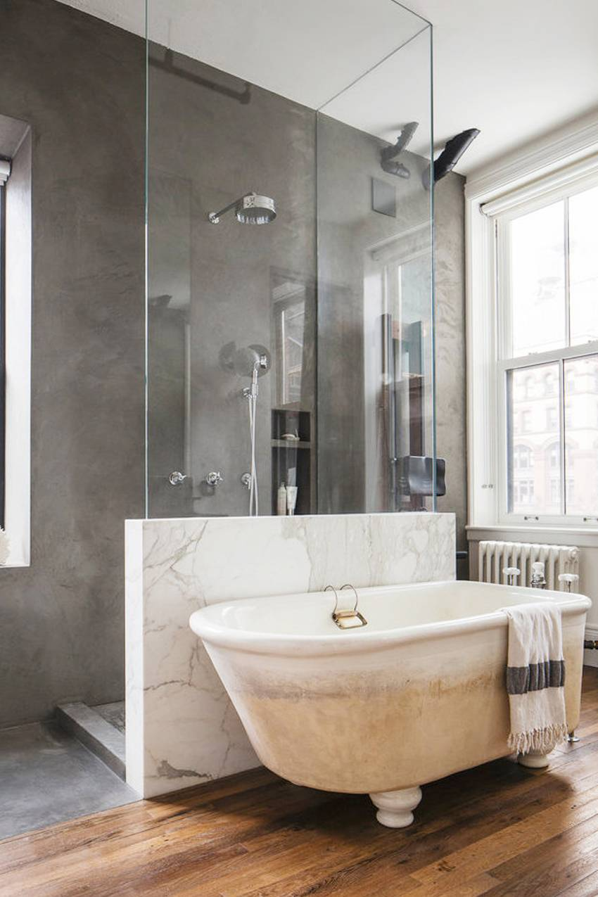 This farmhouse-style claw-foot tub is so well suited for this bathroom, though we wouldn't necessarily think so if we saw it on its own