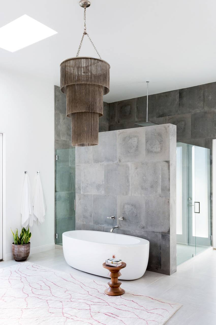 We love the various textures and materials featured in this space