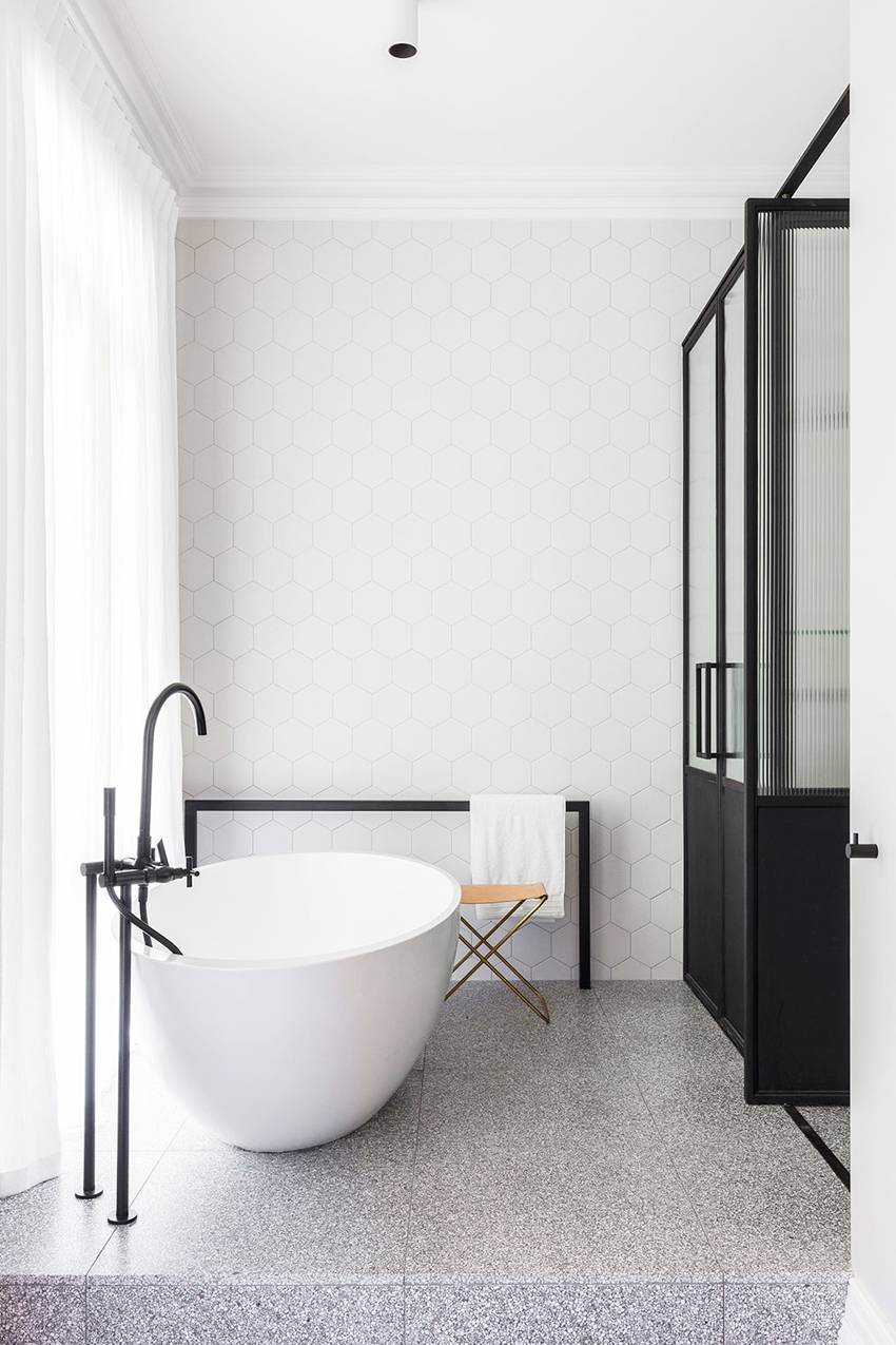 We wouldn't mind drifting off in this cocoon of a freestanding tub
