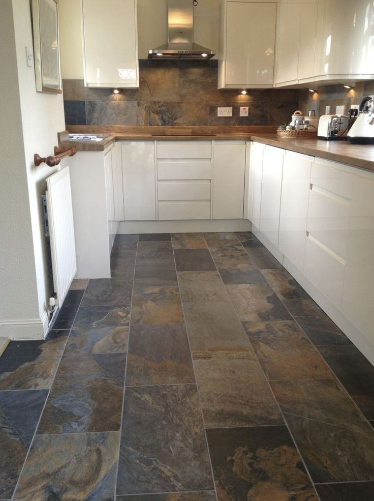 Best 15 slate floor tile kitchen ideas diy design decor for Kitchen flooring options uk