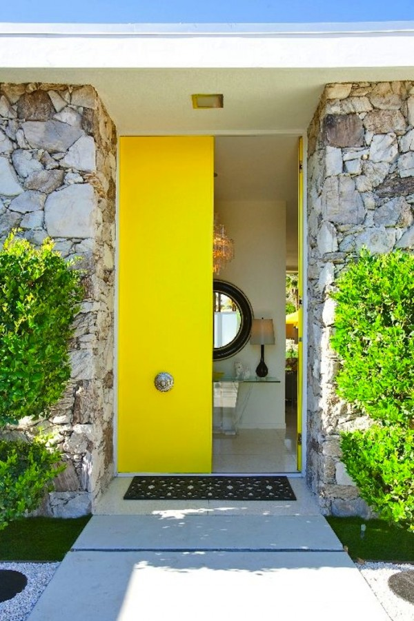 Bright yellow front door idea