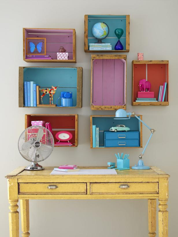 Colorful Crate Bookshelves