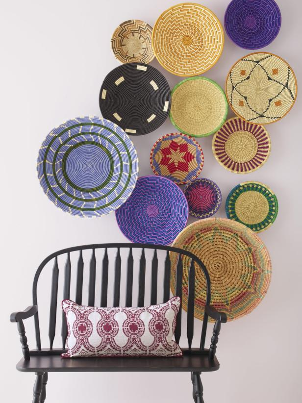 Farmhouse Wall Decor With Woven Baskets