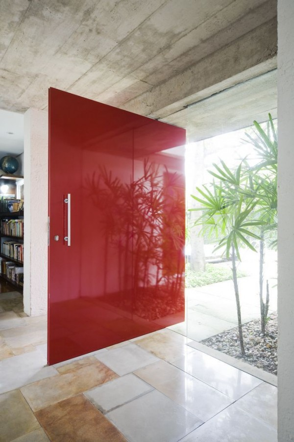 Glossy cardinal red front door