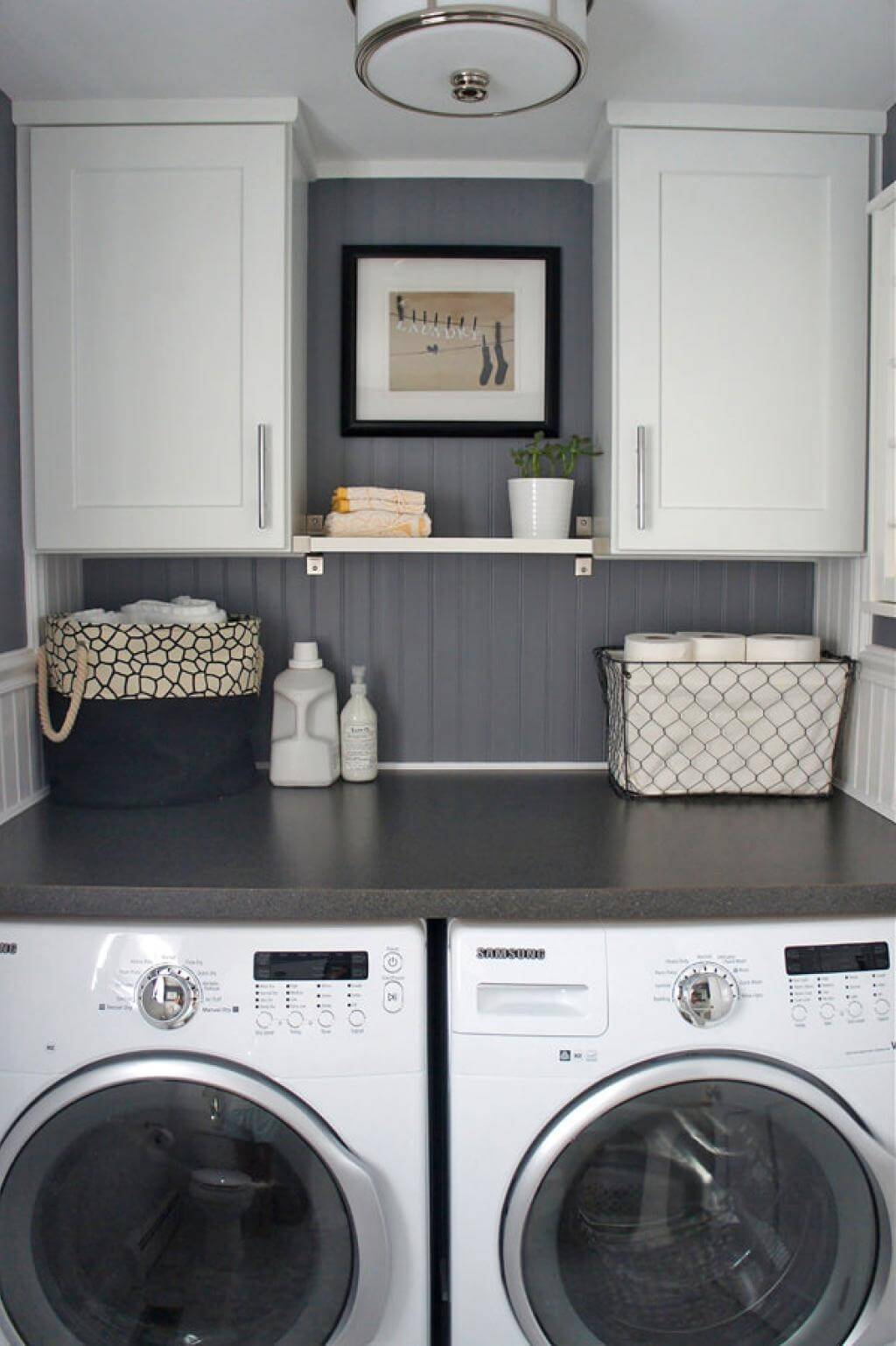 Gray and White and Warm Laundry Room