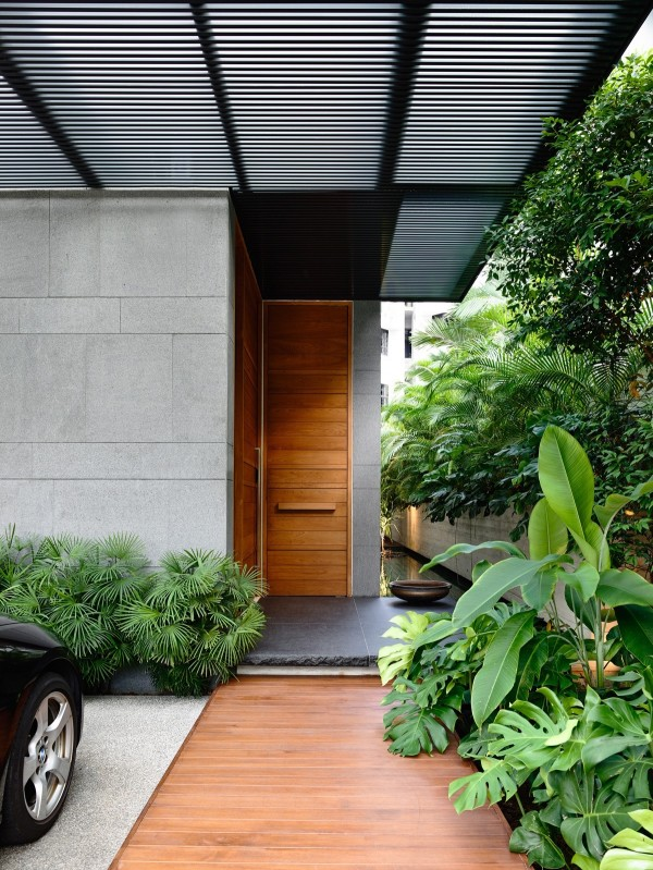 Matching wooden door and walkway