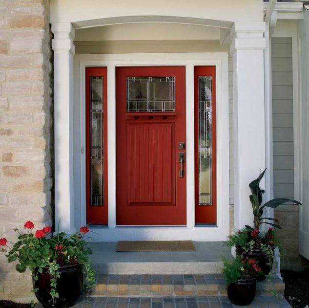Red front door ideas for residential house