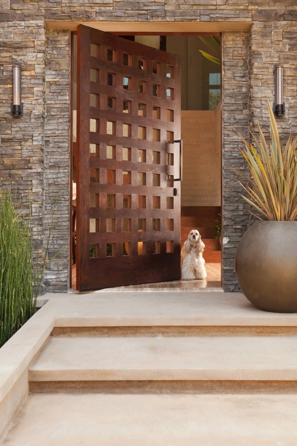 Rustic front door with tiny panes