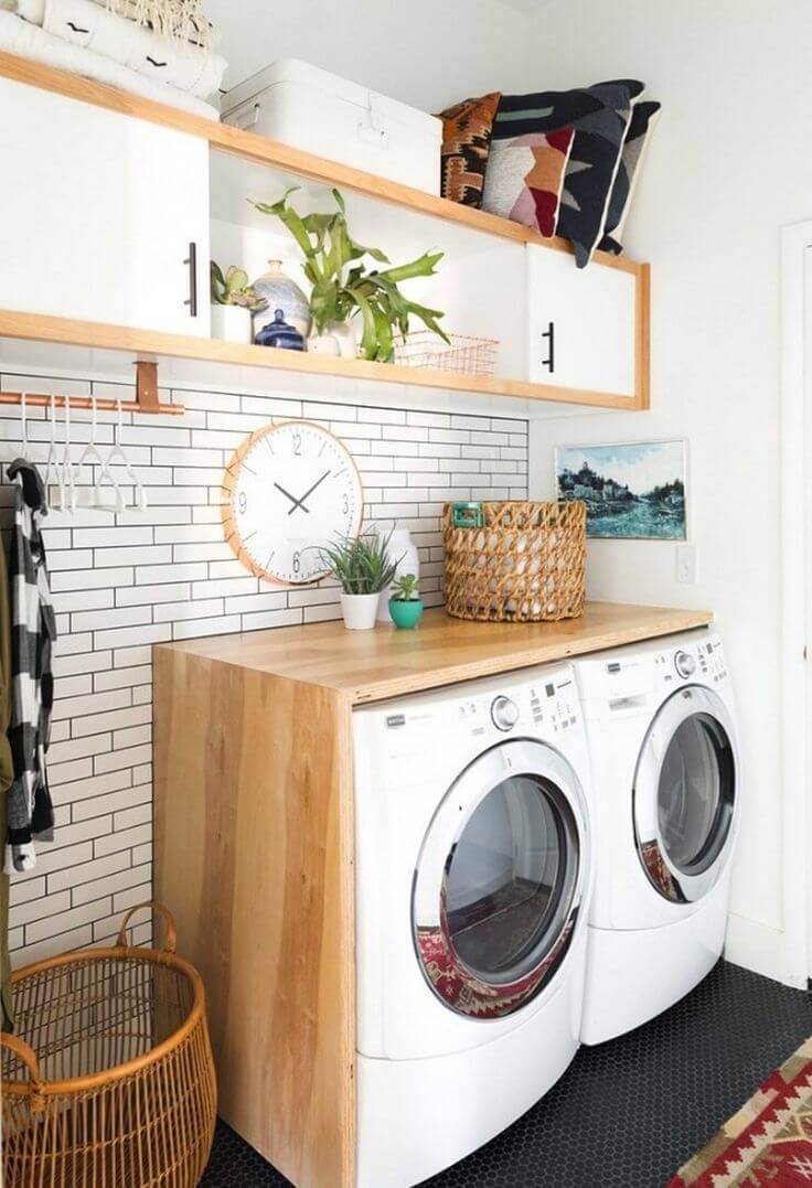 Subway Tile Backsplash Accent Laundry Room